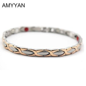 Wholesale Elegant V Care Blood Pressure Magnetic Bracelet For Women s Fashion Negative Ion Germanium Energy Bracelet mm Width L18101305