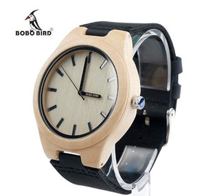 2018 BOBO BIRD Pine Wooden Watches Casual Wood Case Leather Band Japan 2035 Movement Quartz Watch accept OEM Customize Fashion for Women Men