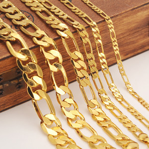 Wholesale Mens women s Solid Gold GF mm Width Select Italian Figaro Link Chain Necklace bracelet Fashion Jewelry