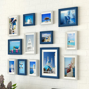 Wholesale hanging nails for sale - Group buy European Style Creative Wall Hanging Photo Frame Set Wooden Picture Frames Set Traceless Nail Picture Frames marco foto