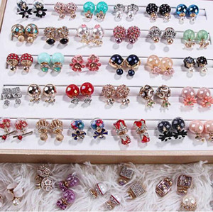 Wholesale Random mix style Pairs delicate Crystal Pearl Double sided Earrings Opal gemstone screw Earrings Fit girl Madam