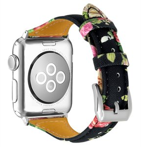 Wholesale Hot mm mm Genuine Leather Flower Printing Watch Bands Smart Wrist Straps with Metal Buckle for Apple iWatch Series Replacement