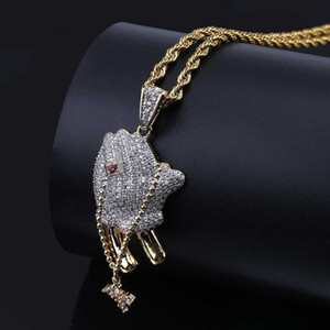 Wholesale praying hands resale online - Hip Hop Iced Out Gold Color Plated Cross and Praying Hands Necklace Pendant Micro Pave CZ Stone Charm Necklace for Men
