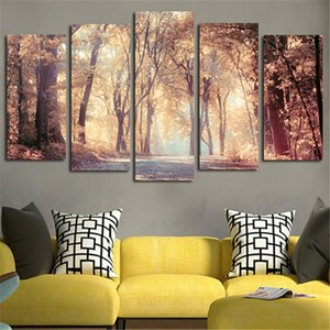 Wholesale landscapes autumn paintings resale online - Canvas Modern Wall Art Poster Home Decor HD Printed Painting Panels Autumn Leaves Tree Landscape Modular Pictures