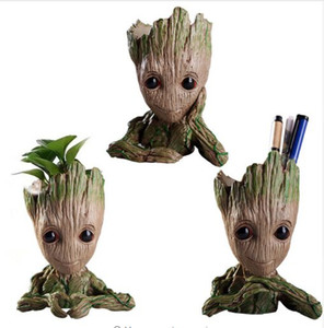 Wholesale Baby Groot Flowerpot PVC Flowerpot Planter Model Toy Pen Pot Holder Home Table Decoration Christmas Kids Gifts
