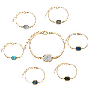 Wholesale Resin Stone Drusy Bangle Bracelets Kendra Styles Druzy Drusy Bracelets Scott Gold Plated Women Lady Jewelry Christmas Gift