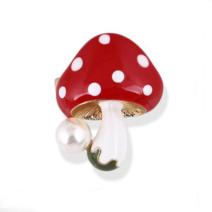 Wholesale pearls designs clothes resale online - Elegant Faux Pearl Adorable Mushroom Brooch Fantastic Clothes Jewelry Accessories Broach Pin For Women Hot Selling New Design