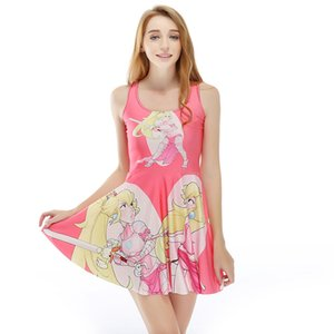 Wholesale Women Billowing Dress Beautiful Young Girl Cartoon D Print Girl Stretchy Casual Pleated Parasol Dresses Lady Sleeveless Skirt RLSkd1203