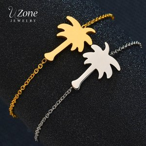 Wholesale UZone Gold Color Palm Tree Bracelet For Women Stainless Steel Hawaii Beach Coconut Friendship Bracelet BFF Gifts Jewelry