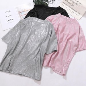 Wholesale New Summer Women Fashion Bling Shiny Loose Straight T Shirt Ladies Casual Stretch Large Regular Short Tee