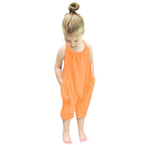 Fashion Baby Rompers Summer Kids Baby Girls Clothing Soild Color Romper Jumpsuit Trousers Clothes Jumpsuits on Sale