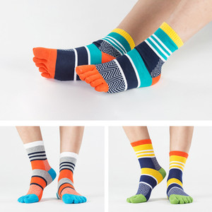 Wholesale Funny Pairs Mens Summer Cotton Toe Socks Striped Contrast Colorful Patchwork Men Five Finger Socks Free Size Basket Calcetines