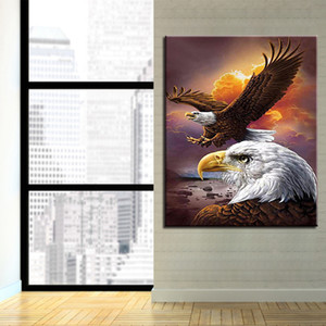 Wholesale DIY Oil Painting By Numbers Kits Drawing Eagle Fly Pictures On HandPainted Wall Art Coloring Acrylic Unique Gift Artworks Canvas