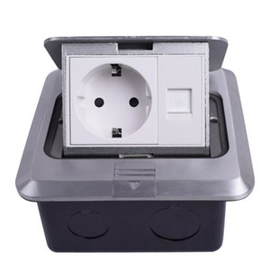 Wholesale electrical sockets for sale - Group buy All Aluminum Silver Panel EU Standard Pop Up Floor Socket Electrical Outlet With RJ45 Internet Computer Port