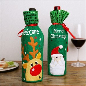 2018 Christmas Decoration Santa Claus Wine Bottle Cover Gift Reindeer Snowflake Elf Bottle Hold Bag Case Snowman Xmas Home Decor hot sell