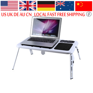 Wholesale Freeshipping Portable Laptop Lap Desk Foldable Table E Table Bed With USB Cooling Fans Stand TV Tray Lapdesks