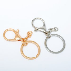 Wholesale 5pc Gold Silver Plated Keychains Lobster Clasps Hooks Key Chain Key Rings for DIY Trinkets Pom Pom Keychain Jewelry Findings