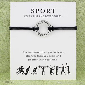 10pcs lot Silver Tone Circle Volleyball Sports Charm Bracelets & Bangles for Women Girls Adjustable Friendship Statement Jewelry with Card