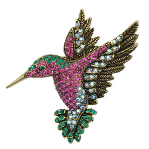 Wholesale Animal Woodpecker Brooch Color Rhinestone Gem Pin Retro Crystal Alloy Clothing Corsage Europe America Fashion High grade Jewelry Women Gift