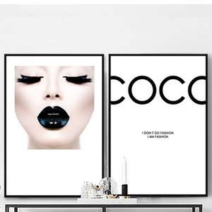 Wholesale Modern Fashion COCO Canvas Painting Sexy Girl Posters and Prints Wall Art Picture For Living Room Home Decor Black Lips No Frame