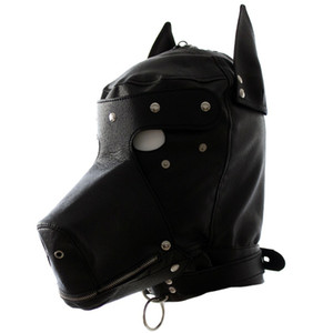 Wholesale Leather fetish dog headgear sexy cosplay hood mask head harness bondage restraint adult SM game sex toy for women men gay couple D18103107
