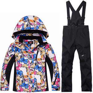 Wholesale Children Snow suit Coats Ski suit sets outdoor Gilr Boy skiing snowboarding clothing waterproof thermal Winter jacket pants