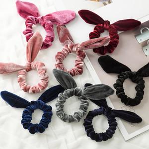 Fashion Women Lovely Velvet Bow Hair Bands Lovely Hair Scrunchies Girl's Tie Accessories Ponytail Holder 9 Color