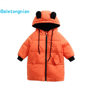 Wholesale Baby Kids White Duck Down Jackets for Boys Girls Warm Hooded Outerwear Child Cartoon Ear Winter Coats Snowsuit Overcoat Clothes