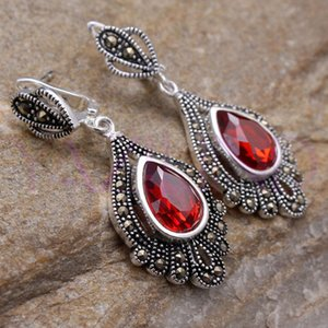 Wholesale whosale noble red crystal silver hook earrings Vintage style