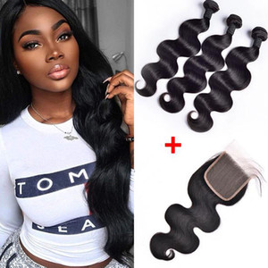 Wholesale blonde peruvian closure for sale - Group buy Brazilian Body Wave Human Hair Weaves Bundles With x4 Lace Closure Bleach Knots Straight Loose Deep Wave Curly Hair Wefts With Closure