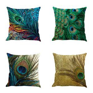 Wholesale DHL cushion covers Colorful retro peacock feathers Cotton and linen pillowcase office pillow case size cm cm