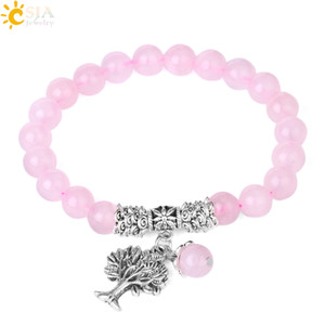 Wholesale indian gemstone beads for sale - Group buy CSJA Reiki Pink Rose Quartz Beaded Bracelet mm Natural Crystal Gemstone Mala Beads Tree of Life Charms Meditation Ethnic Yoga Jewelry E723