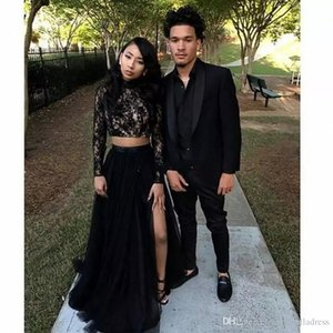 2018 Two Piece Black Girl Prom Dresses Lace Long Sleeves Sequins A-Line Tulle Side Split Evening Gowns Cheap Sexy Girls Occasion Party Dress on Sale