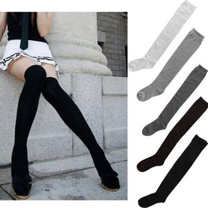 Wholesale Hot Newly Fashion Sexy Cotton Over The Knee Socks Thigh High Stocking Thinner Black Grey White Drop Shipping Y1890305