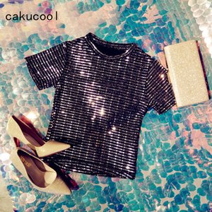 Wholesale Cakucool New Women Short Sleeve T shirt Summer Sequined Luxury Slim Tee Top Sexy Bling Shiny Club Tshirts Pullovers Tees Female