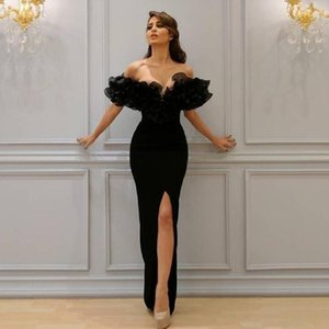 2018 Sexy Mermaid Evening Dresses Boat Off-Shoulder with Lace Appliques Sleeve Cascading Ruffles Sheer Evening Gowns Party Dresses on Sale
