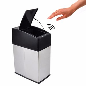 3L 6L Mini Stainless Steel garbage touchless automatic car dustbin small kitchen sensor trash can Table waste bin on Sale