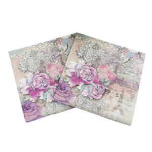 Wholesale 20pcs pack Newest Design Eiffel Tower Paper Napkins Rose Festive Party Tissue Floral Decoration Guardanapo cm cm