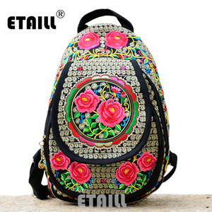Wholesale Chinese Hmong Boho Indian Thai Embroidery Brand Logo Backpack Handmade Embroidered Canvas Ethnic Travel Rucksack Sac a Dos Femme