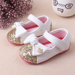 Wholesale 2017 Baby Girl Princess Sparkly Fashion Children Shoes Bowknot Cute Baby Shoes Princess Gold Silver Sole Soft