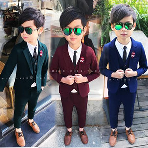 2018 new Wedding Flower Boy Dress High Quality Child Blazer suits Slim and gentle Solid Color Kid Suits Jacket shirt pant vest