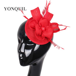 Fascinator Imitation Sinamay hat women's hair accessories feather decorative headwear bride wedding DIY millinery handmade hair clips cute