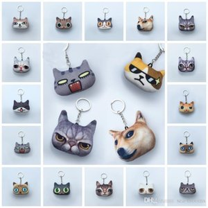 Wholesale 20 Styles Portable Animals Creative Cartoon Dog Cat Keychain Children Toys Gift Pendant QQ Emoticon Keyring Lovely Girls Keychains D336SF