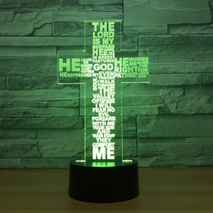 Wholesale Christ Jesus Cross D Night Light Colors Change LED Lamp Desk Table Art Home Child Bedroom Decoration Lighting Dropshipping
