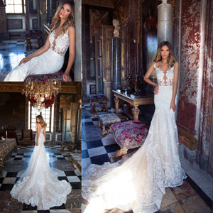 2018 Amazing Tulle Jewel Neckline See-through Bodice Designer Mermaid Wedding Dresses With Lace Appliques Milla Nova Bridal Gowns on Sale