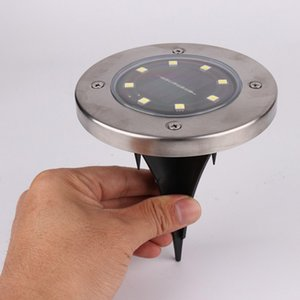 Wholesale 8 LED Stainless Steel Solar Power LED Home House Garden Outdoor Pathway Lawn Yard Stake Ground Light Lamp