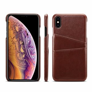 Wholesale Two Card Box Leather Hard Plastic Case For Iphone XR XS MAX X S9 Dual PC Veneer Gluing Fashion ID Card Slot Back Covers Business Vintage