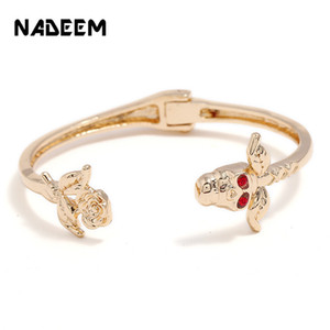 Wholesale Big Brand Bohemia Fashion Lipstick Open Cuff Bangles Indian Girls Crystal Spring Bracelets Bangles Female Cute Ladies Jewelry