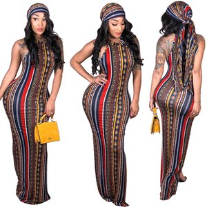 Wholesale Fashion sleeveless Casual dresses sexy striped print bohemian dress Maxi Bandage Bodycon Dress Plus Size women Vestidos Sexy Club Wear