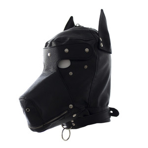 Wholesale Sexy Bdsm Bondage Hook Fetish Lace up Mouth Dog Mask Sex Toys For Woman Couples Restraints Adult Games PU Leather Hood Mask